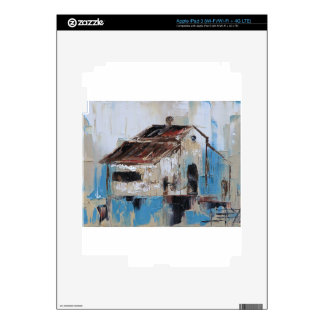 Barn with antique and rustic hues of turquoise decals for iPad 3