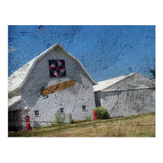 Barn With Corn and a Barn Quilt Postcard