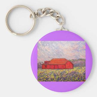 barn with irises basic round button keychain