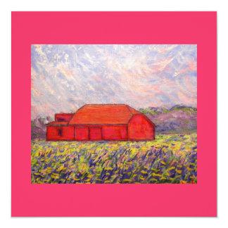 barn with irises card