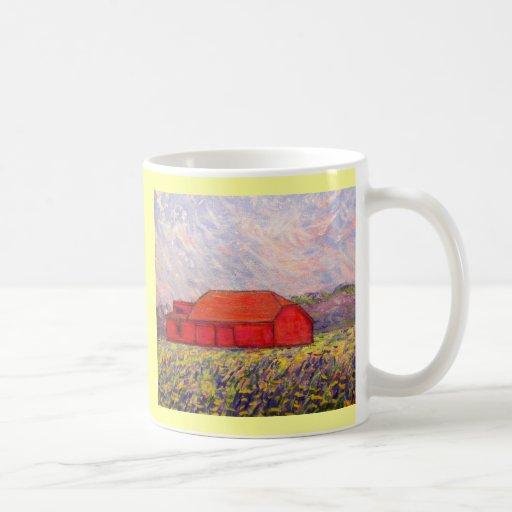barn with irises mug