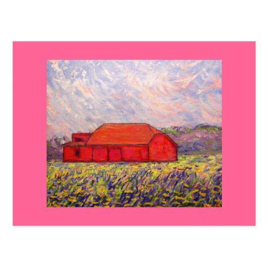 barn with irises postcard