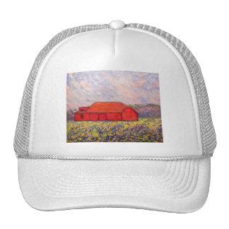 barn with irises trucker hat