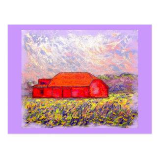 barn with purple irises postcard