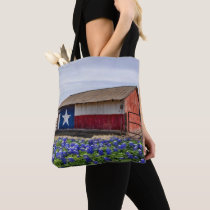 Barn With Texas Flag And Bluebonnets Tote BAg