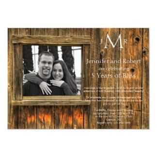 Barn Wood 5th Wedding Anniversary Invitation