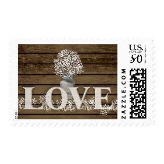 Barn Wood and Baby's Breath Jar Rustic Love Postage