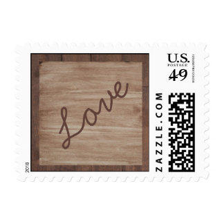 Barn Wood and Birch Country Wedding Love Stamps