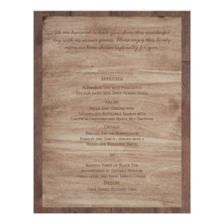 Barn Wood and Birch Country Wedding Menu