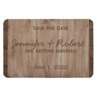 Barn Wood and Birch Country Wedding Save the Date Rectangular Photo Magnet