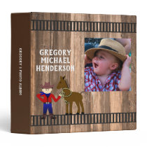 Barn Wood And Horse Boy Photo 3 Ring Binder