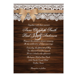 Barn Wood and Lace beige bow Wedding Invitations Custom Announcements