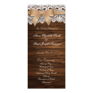 Barn Wood and Lace beige bow wedding program