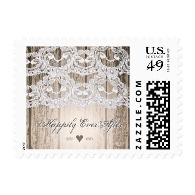 Barn Wood and Lace Heirloom Wedding Postage Stamp