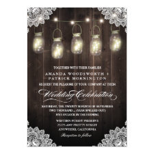 Barn Wood and Lace Mason Jar Wedding Invitations