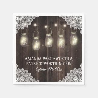 Barn Wood and Lace Mason Jar Wedding Napkins