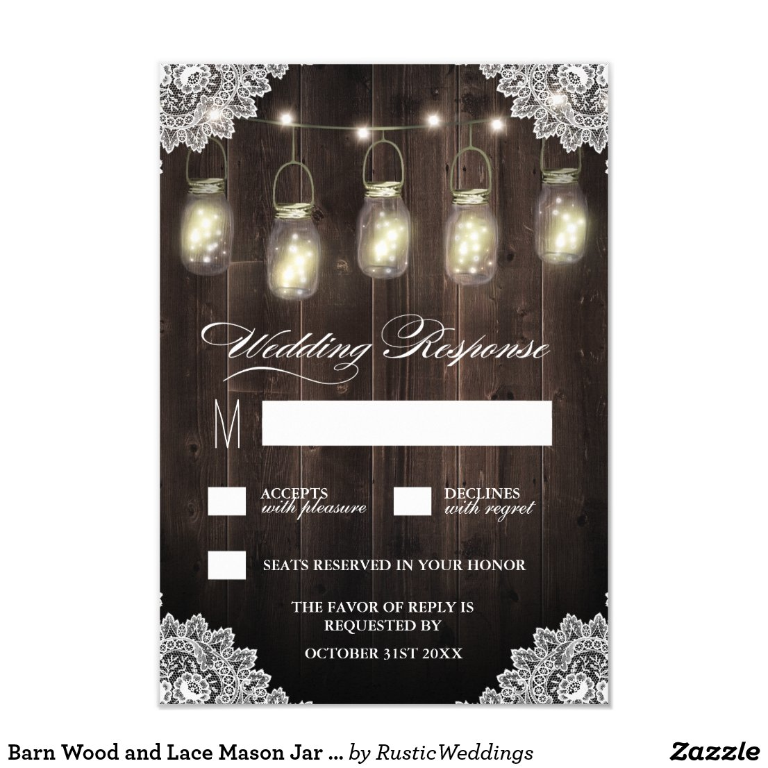 Barn Wood and Lace Mason Jar Wedding RSVP Cards