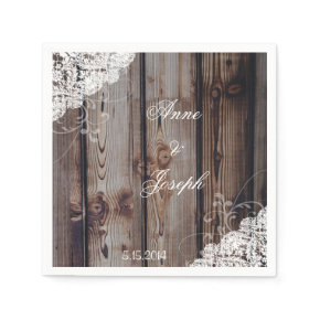 Barn Wood and Lace Napkins Standard Cocktail Napkin