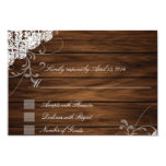 """Barn Wood and Lace RSVP Cards 3.5"""" X 5"""" Invitation Card"""
