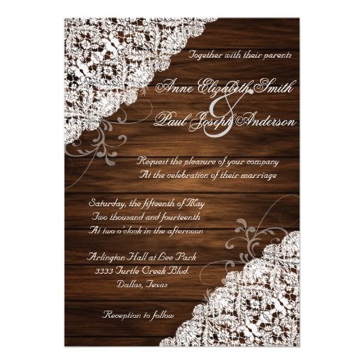 Barn Wood and Lace Rustic Wedding Invitations Personalized Announcement