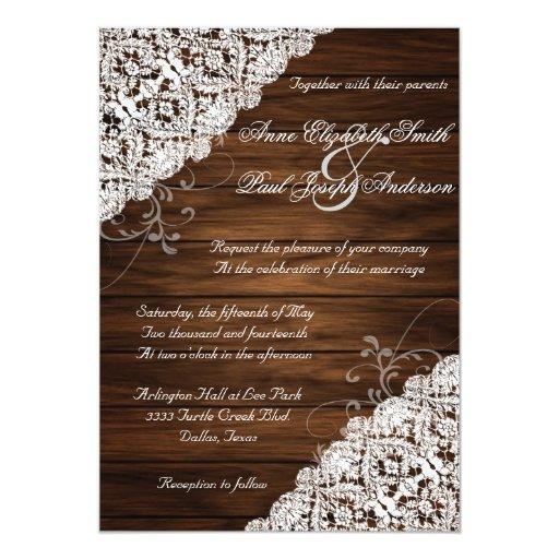 Barn Wood And Lace Rustic Wedding Invitations Zazzle