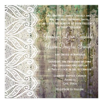 Barn Wood and Lace Square Wedding Invitations