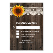 Barn Wood and Lace Sunflower Wedding RSVP Cards