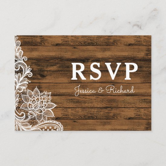 Barn Wood and Lace Wedding RSVP Announcement