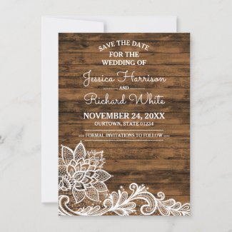 Barn Wood and Lace Wedding Save the Date
