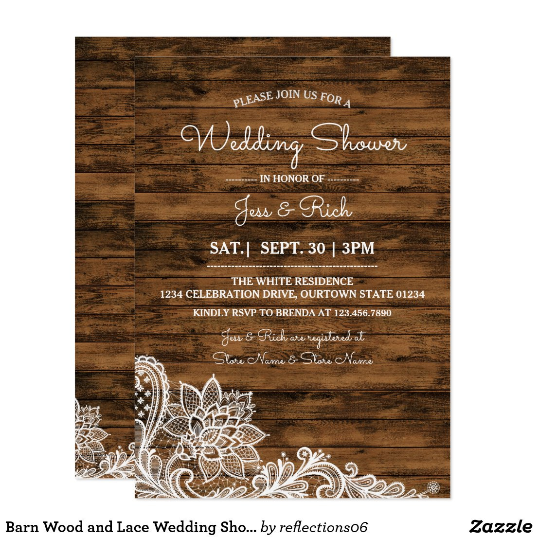 Barn Wood and Lace Wedding Shower Invitation