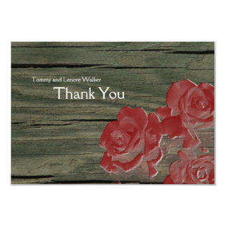 Barn Wood and Rose Red Roses Thank You Card