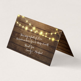 barn wood and string lights place card