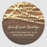Barn Wood and String Lights Wedding Classic Round Sticker