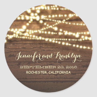 Barn Wood and String Lights Wedding Classic Round Sticker