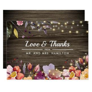 Barn Wood | Autumn Floral Wedding Thank You Cards