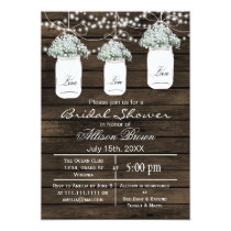 Barn wood babys Breath mason jarsbridal shower Card