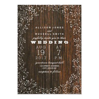 Barn Wood + Baby's Breath Wedding Card