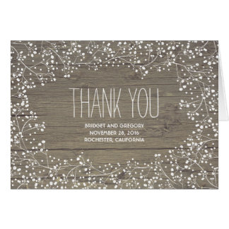 Barn Wood / Baby's Breath Wedding Thank You Card