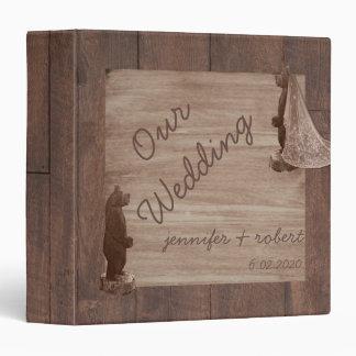 Barn Wood Bears Country Wedding Album 3 Ring Binder