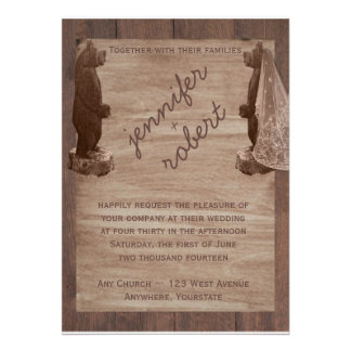 Barn Wood Bears Country Wedding Invitation