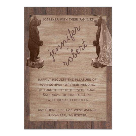 barn wood bears country wedding invitation zazzle com