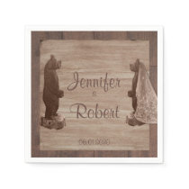 Barn Wood Bears Country Wedding Napkin