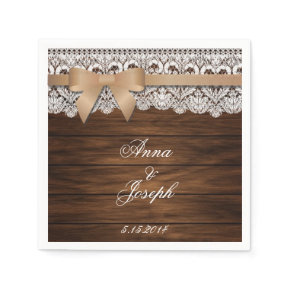 Barn Wood beige bow and Lace Napkins Standard Cocktail Napkin