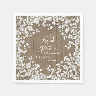 Barn Wood Bridal Shower Decor Babys Breath Wreath Paper Napkin
