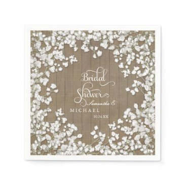 luxuryweddings Barn Wood Bridal Shower Decor Babys Breath Wreath Paper Napkin
