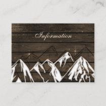 Barn wood Camping Mountains wedding details card
