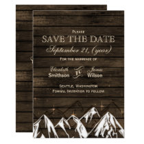 Barn wood Camping Rustic Mountains save the date Card