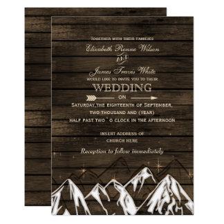 Barn wood Camping Rustic Mountains Wedding Invitation