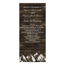Barn wood Camping Rustic Mountains wedding program
