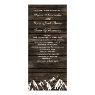Barn wood Camping Rustic Mountains wedding program